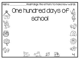 100 Days Of School Activity