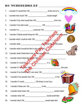 One Hundred Days of School Activity Wondering about 100