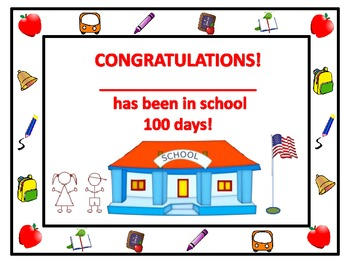 One Hundred Days of School Certificate
