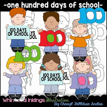 One Hundred Days of School Clipart Collection