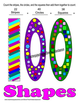 One Hundred Days of School One Hundred Shapes to Color and Count Activity
