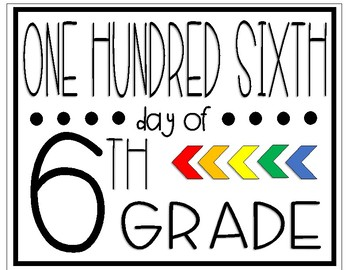 One Hundred Sixth Day of Sixth Grade Sign