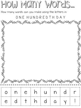 One Hundredth Day / 100th Day Activity Pack