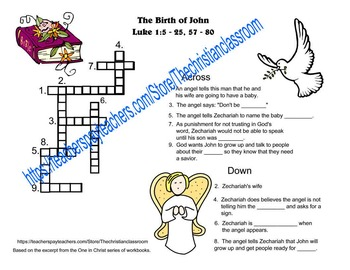 One In Christ supplementary materials grade 2 The Birth of John Crossword puzzle