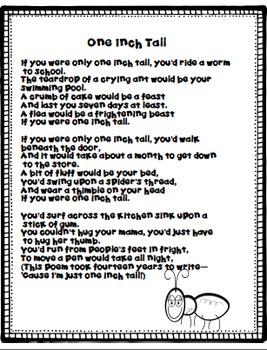 """""""One Inch Tall"""" A Poem Freebie"""