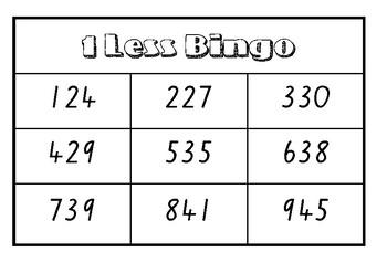 One Less Bingo (3 Digit)