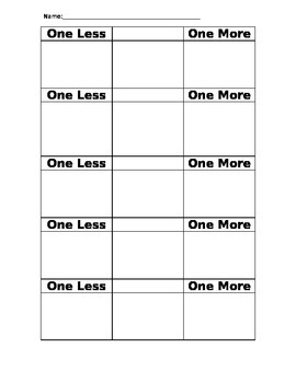 One Less, One More Worksheet - Number Sense