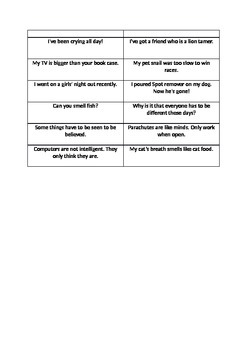 One Liner cards for drama activities