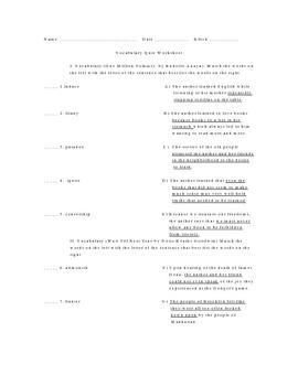 One Million Volumes and Wait Till Next Year Vocabulary Quiz Worksheet