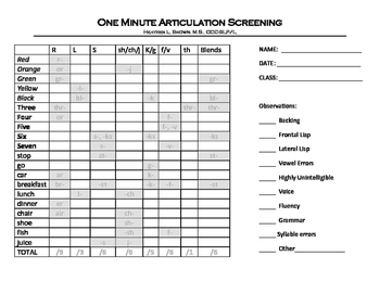 One Minute Articulation Screening