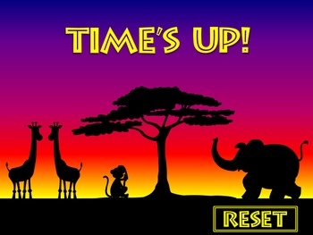One Minute Countdown Timer  PowerPoint - Safari Theme - Sunset - Animals