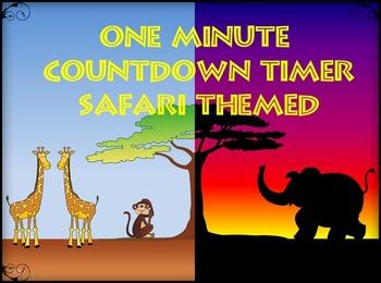 One Minute Countdown Timer  PowerPoint - Safari Theme - Sunset - Animals