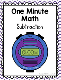 One Minute Math: Subtraction 1 - 10 {Growing set} Timed Ma