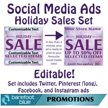 Ready in One-Minute Social Media Sales Ads, Holiday Set 1