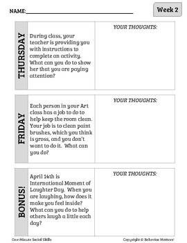 One-Minute Social Skills for April (Daily Practice)