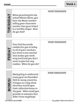 One-Minute Social Skills for December (Daily Practice)