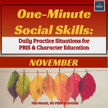One-Minute Social Skills for November (Daily Practice)