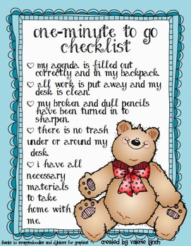 One Minute to Go Checklist Poster