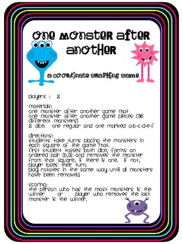 One Monster After Another Coordinate Graphing Game