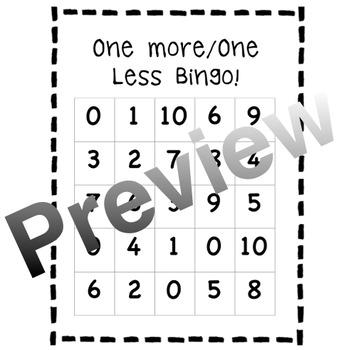 One More / One Less Bingo 0-10