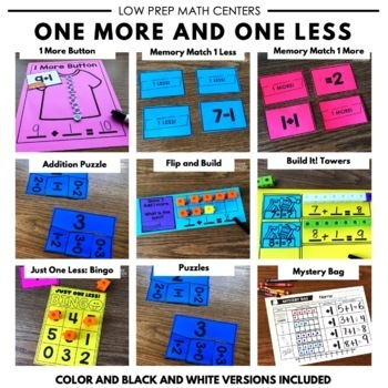 One More, One Less Math Facts Math Centers