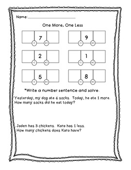 One More, One Less Math Printable