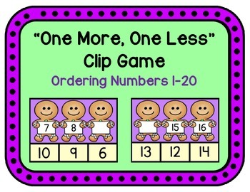 One More, One Less - Number Order Clip Game