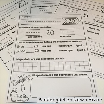 One More / One Less Number Printables {Spanish} Unos menos / uno mas {TEKS/CCSS}