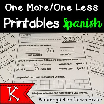 One More / One Less Number Printables {Spanish} Unos menos