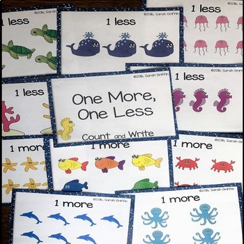 One More, One Less ~ Ocean Math Center ~ Task Cards