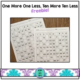 One More, One Less and Ten More, Ten Less number sense freebie!