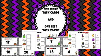 One More Task Card and One Less Task Cards:  Halloween Math