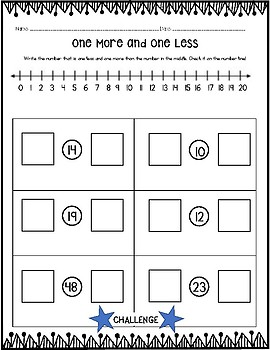 One More and One Less - Challenge Number Line Practice