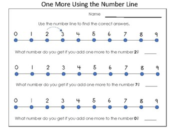 Kindergarten Practice - One More and One Less Using a Number Line