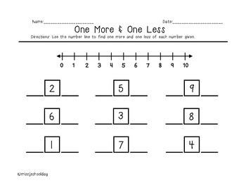 One More and One Less on a Number Line