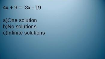 One, No, Infinite Solutions Equation Slides