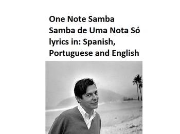 One Note Samba--lyrics in Portuguese, Spanish & English