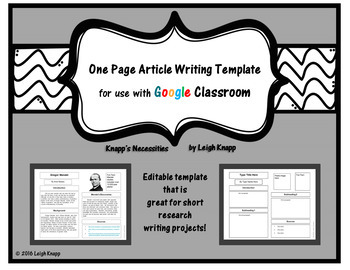 One Page Article Writing Template for Google Drive and Google Classroom