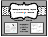 One Page Article Writing Template for Google Drive and Goo