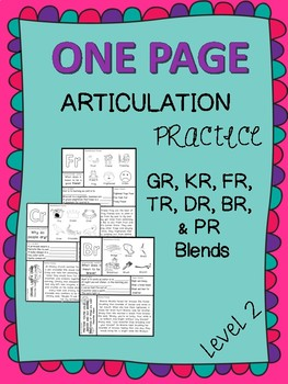 One Page Articulation Practice - /R/ Blends Bundle