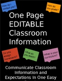 One Page Classroom Information and Expectations