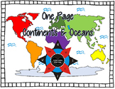 One Page Continents and Oceans Book