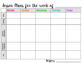 One Page Editable Lesson Planner