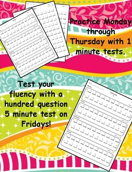 One Page Everyday Timed Tests Addition and Subtraction (0-12) and Mixed