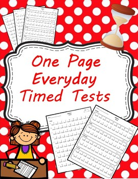 One Page Everyday Timed Tests Addition and Subtraction (0-