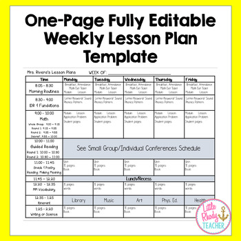 Editable Weekly Lesson Plan Template Teaching Resources Teachers