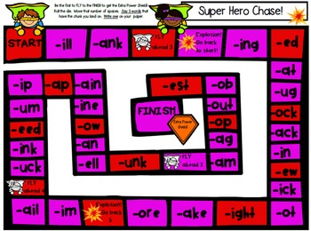 One Page Phonics Games: Highest Frequency Chunks Rimes Phonograms K-3