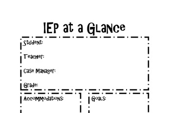 One-Page IEP at a Glance