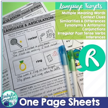 One Page Language and Articulation - for R