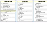 One Page List of Transition Words and Sentence Starters (P
